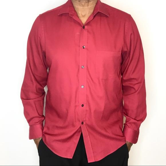 957e12e7674 Van Heusen pin cord Red Button Down Dress Shirt. M 5b0b50b82ab8c546bdb9a3d1